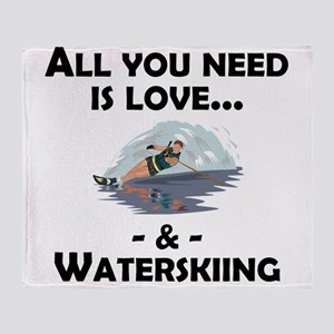 Love And Waterskiing Throw Blanket
